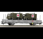 66682 Roco Freight car w/ stanchions loade w/ military ambulances
