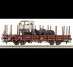 66681 Roco Open wagon w/ stanchions, loaded with truck